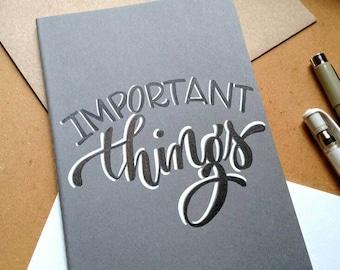 Custom hand lettered moleskin journal, custom notebook, personalized journal, customized notebook, blank journal.