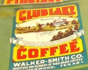 Vintage 1930's Club Lake Coffee Can Label-Walker-Smith Roasters-Brownwood TEXAS-FREE SHIPPING!