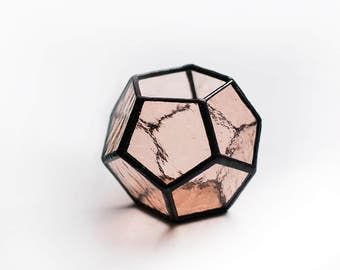 Jewelry Box, Pink Glass Terrarium Containers, Peach Lantern Geometric Candleholder, Mini Terrarium for Succulent, Display Box, Ring Box