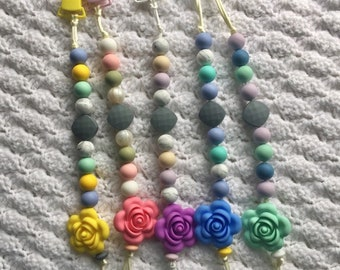 Flower Pacifier Clips//Soother Clips