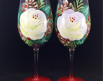 Christmas rose wine glasses,  white floral with holly and pine cones, gift for couple, winter wedding, hostess, wine basket, gift exchange