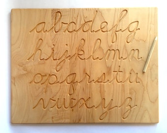 Cursive Alphabet Wood Tracing Board Lowercase and/or Uppercase -- Educational Homeschool Learning Tool From Jennifer