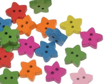lot 10 stars multicolored 13mm 2 holes wood buttons