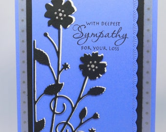 Sympathy Card Violet with Black and White Flowers