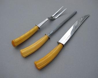 Vintage Butterscotch Bakelite Carving Set Flint Carving Set Made in U.S.A. Carving Knife Serving Fork Sharpening Steel
