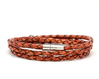 Braided brown Leather wrap bracelet for men - brown leather bracelet for men - gift idea for men