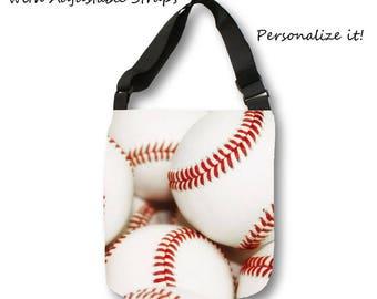 Baseball Tote Bag-Baseball Bag-Canvas Tote Bag-Large Overnight Tote-Cross Body Bag-Team Mom Gift-Weekend Tote-Baseball Gift Ideas