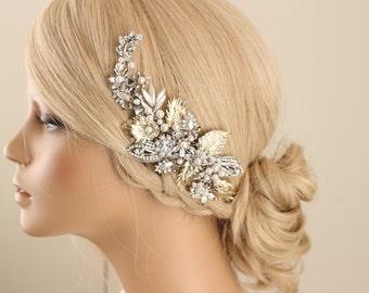 wedding hair piece, bridal hair piece, wedding hair comb, vintage wedding hair piece, vintage bridal hair piece, Jewelry hair comb