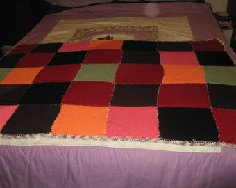 Vintage knitted bed topper nana knee throw afghan colourful design