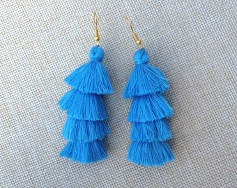 Bermuda Sky Tassel Earrings, Layered Tassel Drop Earrings, Sky Blue Earrings, Ocean Blue Earrings, Modern Earrings, BOHO Earrings, Fashion