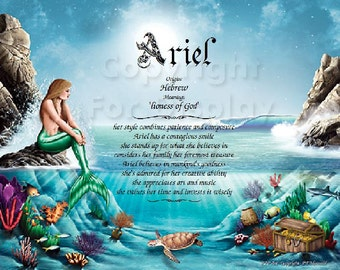 Mermaid Personalized Name Meaning Print