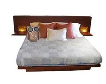 Wood Bed Frame / Wood Platform Bed / Queen / with Headboard & Built In Live Edge Nightstands
