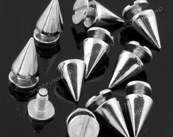 10mm Wholesale Silver Cone Metal Spikes and Studs FREE SHIPPING