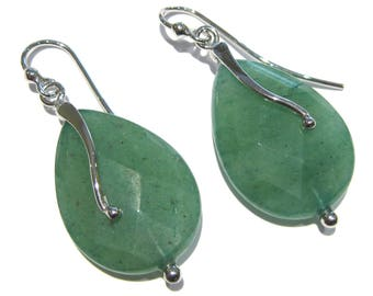 aventurine  earrings silver 925% drop