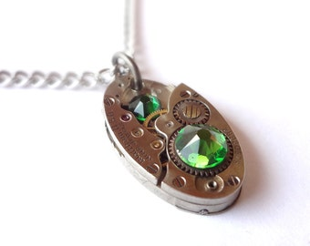 Steampunk Necklace Oval Clockwork Jewelry & Emerals Green Crystals