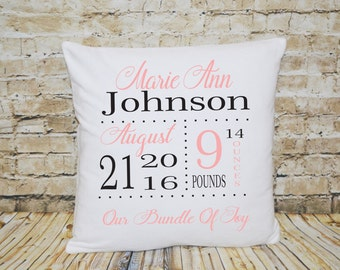 Birth Pillow, Birth Stats Pillow, Birth Announcement, Gift for Baby, First Birthday Gift, Baby Pillow, Nursery Pillow, Nursery Decor, Shower