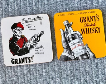 Pair of Grant's Scotch Whiskey Coasters -Timber and Cork with Vintage Style Graphics