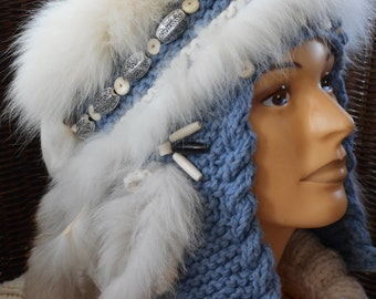Boho hat hand knitted natural fibre with fur