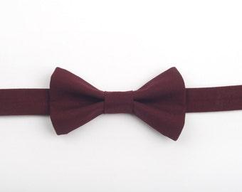 Burgundy bow tie, mahogany bow tie, crimson bow tie, toddler bow tie, adult bow tie, pre-tied bow tie, boys bow tie, ring bearer bow tie,