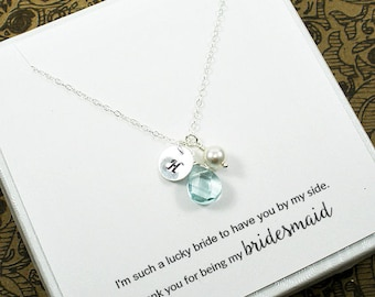 Set of 6, Personalized, Bridesmaid Gift, Bridesmaid Jewelry Set, Bridesmaid Initial Necklace, Wedding Party Gifts, Bridal Party Jewelry
