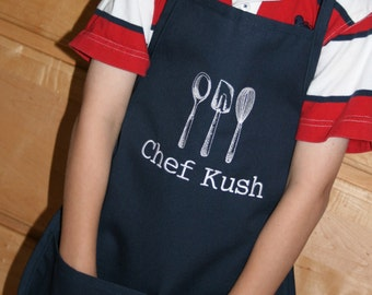 As seen on Giada at Home--Kitchen Utensils--Custom Embroidered Youth Apron-- -2 youth sizes available and a variety of colors