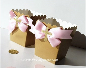 Pink & Gold, Girls Baptism Party Favors, Popcorn Boxes, First Communion, Baby Christening, Satin Bow, Glitter Cross, Dessert Table Decor