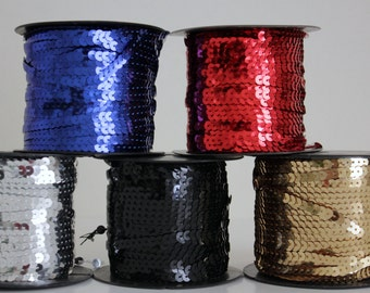 """Sequin Trim - 6 mm - 1/4"""" in 7 Colors - 5 Yard Length"""