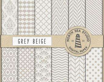 Beige Grey Digital Paper Pack | Scrapbook Paper | Printable Backgrounds | 12 JPG, 300dpi Files | BUY5FOR8