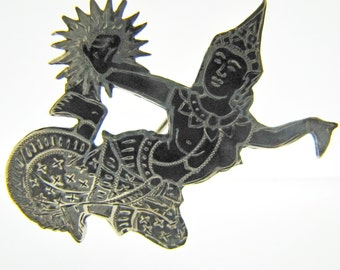 Large Siam Silver Black Niello  Brooch. Thepanon Deity Goddess. Sterling Silver Figural Pin. Thailand. Vintage Asian Jewelry