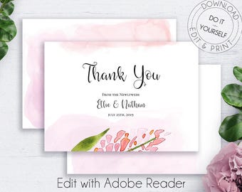 Boho thank you card bohemian wedding printable invitation floral wedding thank you card blush watercolor flowers diy wedding template floral thank you wedding thank you template wedding set solutioingenieria Images