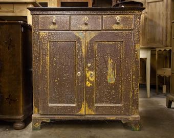 Rustic Weathered Brown English Jelly Cupboard