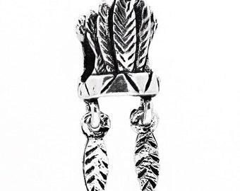 Silver American Indian Headdress Euro European Bead 23mm 1 Piece, 3D Charm, Spacer Bead, Southwest
