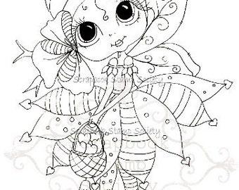 INSTANT DOWNLOAD Digital Digi Stamps Big Eye Big Head Dolls Digi  bELINDA bEEHIVE By Sherri Baldy