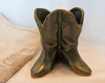 "Cowboy Boots Wall Pocket USA / Cowboy Boots Pen or Pencil Holder 4"" Tall"