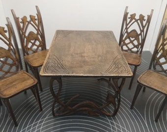 Old Art Nouveau dining table with 4 chairs, in dark wood, 1/12 miniature for dollhouses