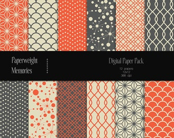 Red Dawn - digital patterned paper - Instant Download -  digital scrapbooking - patterned paper - Commercial use