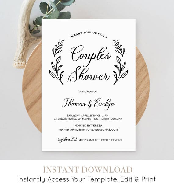 Couples Shower Invitation Template, Printable Wedding Shower Invite, Bridal Shower, Jack and Jill, Instant Download, Editable #027-124BS