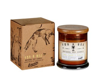 Lime Basil and Kumquat Fox & Bee soy candle with gift box