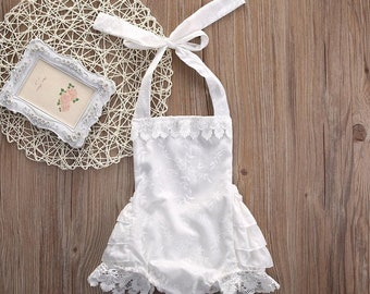 Free delivery,White romper cotton,Baby outfit,Girl romper,Baby Girl Vintage,White cloth,White baby romper,Girl,Cotton bodysuit