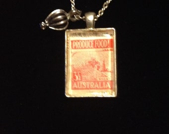 Produce Food Vintage australian Stamp Necklace with black pearl