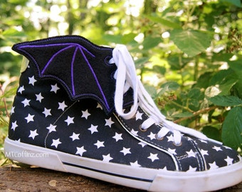 Bat Wing Embroidered Shoe Wings - MTCoffinz - Choose color