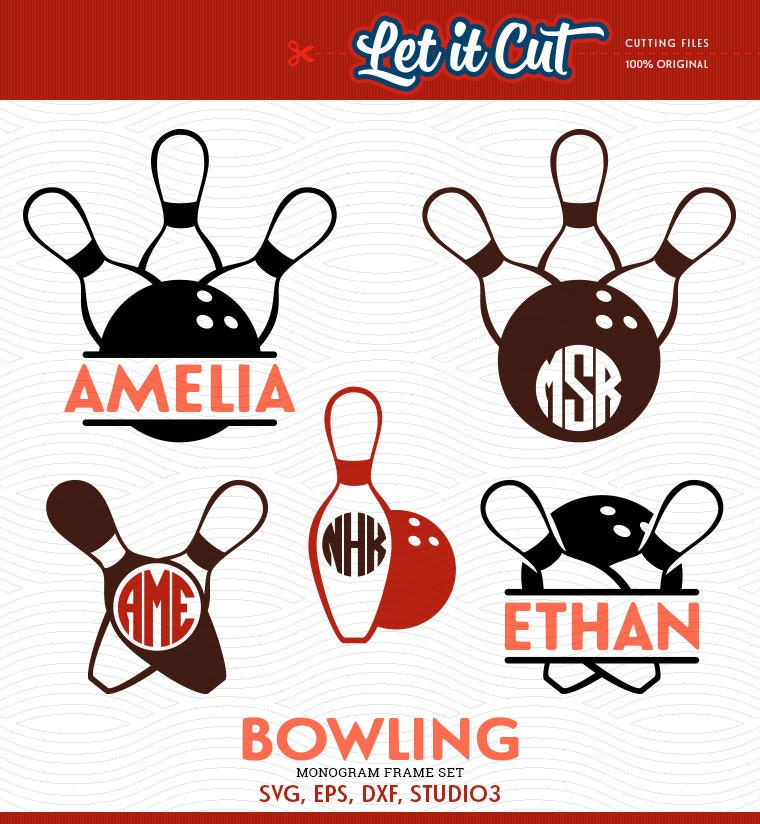 Bowling Balls and Pins SVG Monogram Frames SVG Eps Dxf