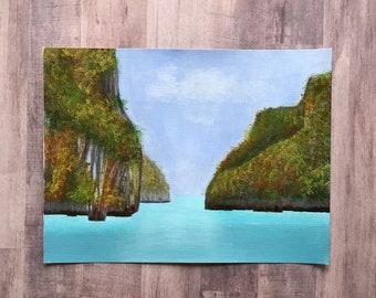 Thailand acrylic painting, original design, nature scenes painting, water scene painting, hand painted acrylic, island theme painting