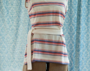 Vintage Belted Tank - Red White and Blue Summer Sleeveless Shirt Blouse