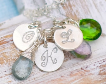 Personalized Necklace, Mother's Necklace, Charm Necklace for Moms, Three  Initial Necklace, Hand Stamped Necklace, Wire Wrapped Birthstones,
