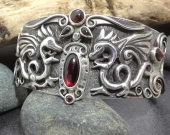Wide dragon and garnet cuff bracelet, heavy layered solid sterling silver, magical one of a kind metalwork medium size, Elfin Works