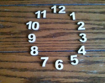 Basswood Wood Clock Numbers - Wood2art - 15 Laser Cut 1 inch pieces  Ariel Black -Font.
