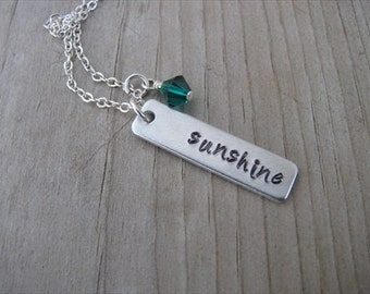 "Inspirational Necklace-brushed silver rectangle with ""sunshine"" and an accent bead of choice- Personalized Gift"