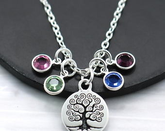 Grandma Necklace - Grandma Mother's Day Gift - Grandmother Gift - Family Tree Necklace - Family Birthstone Necklace - Mom's Day Gift Idea