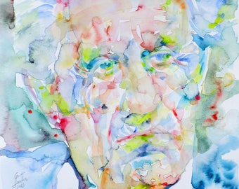 HERBERT MARCUSE - original watercolor portrait - one of a kind!
